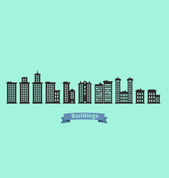silhouette buildings set with text on blue ribbon vector image
