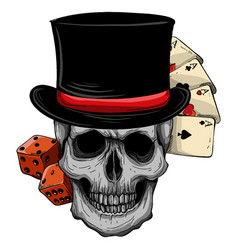 Skull with top hat and casino game vector