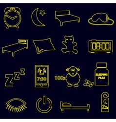 Sleeping time simple outline icons set eps10 vector