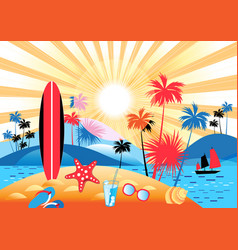 summer tropical landscape with palm trees vector image