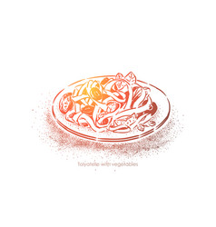 tagliatelle with vegetables traditional cuisine vector image