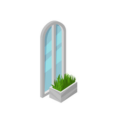 tall arched window with gray frame and blue glass vector image
