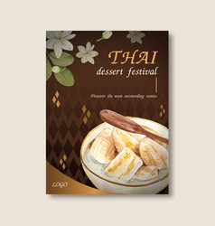 Thai sweet poster design with bananas in coconut vector