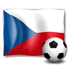 The flag of Czech Republic with a soccer ball vector