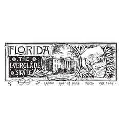The state banner of florida the everglade state vector