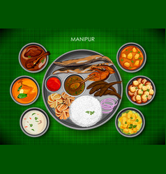 Traditional manipuri cuisine and food meal thali vector