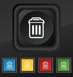 trash icon symbol Set of five colorful stylish vector image
