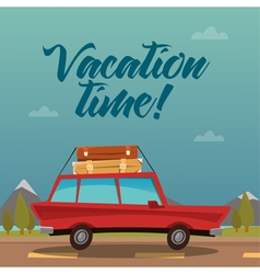 Travel banner by car vacation time vector