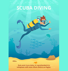Underwater background picture with cartoon diver vector