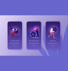 Video studio movie shooting mobile app page vector