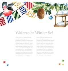 Watercolor winter frame design vector