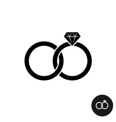 Wedding rings simple black icon Two crossed rings vector