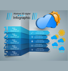 Wheather infographic sun cloud rain icon vector