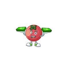 With money bag velvet apple fruit for healthy vector