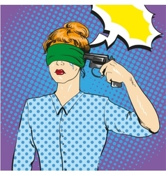 Woman with tied eyes put gun to her head vector