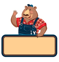 Worker bear banner vector