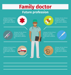 future profession family doctor infographic vector image vector image