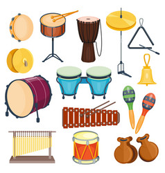 percussion musical instruments flat style vector image