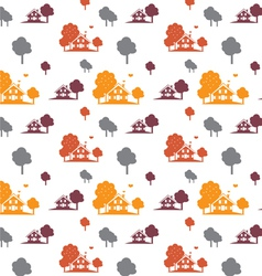 seamless autumn village vector image vector image