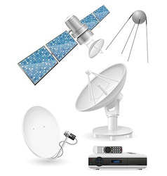 Set icons satellite broadcasting vector