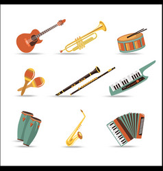 Set of music instruments Flat style design vector image