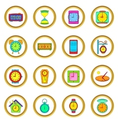 Time and Clock set cartoon style vector image