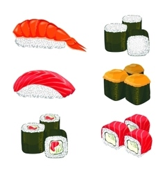 banner of asian rolls with white rice vector image