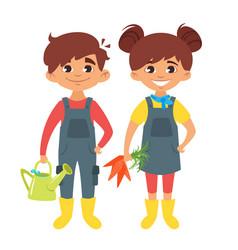 children in farm costumes vector image