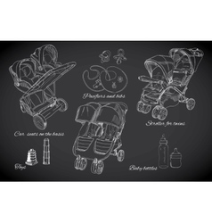 hand drawn set for twins Graphic sketch strollers vector image vector image