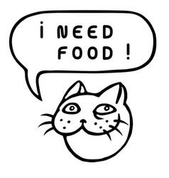 I need food cartoon cat head speech bubble vector