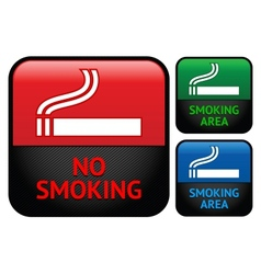 Labels set - No smoking area stickers vector image vector image