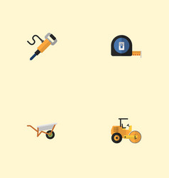 flat icons steamroller roll meter pneumatic and vector image vector image