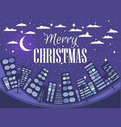 happy christmas winter cityscape festive night vector image vector image