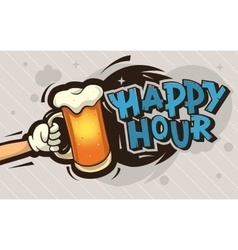 Happy hour cartoon poster design with an vector