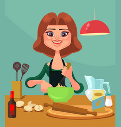 happy smiling housewife character prepare food vector image
