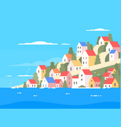 houses on coast of greece vector image vector image