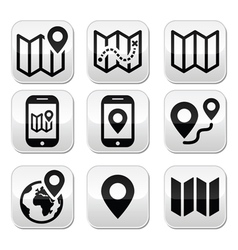 Map travel buttons set vector image vector image