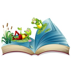 Open book with two frogs in the pond vector image