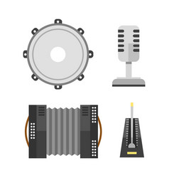 piano keyboard accordion microphone tambourine vector image vector image