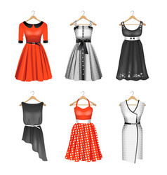 set of six colour dresses vector image vector image