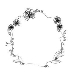 floral wreath flowers decoration line vector image vector image