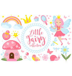 little fairy set cartoon style cute and mystical vector image