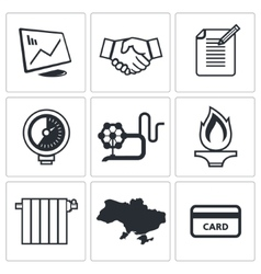 Natural gas industry icon collection vector