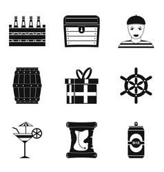 saloon icons set simple style vector image