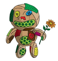 Unhappy ragged doll vector image vector image