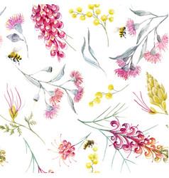 watercolor australian grevillea pattern vector image vector image
