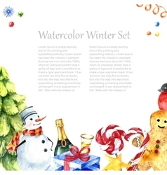 Watercolor winter frame design vector image vector image
