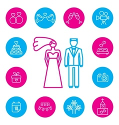 Wedding bride and groom flat icons set vector image vector image