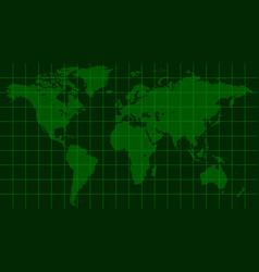 world map earth dark green radar screen matrix vector image