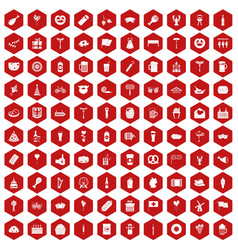 100 beer party icons hexagon red vector